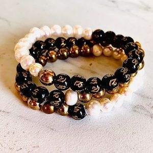 Handmade Gold Pearl and Bead Stretch Set